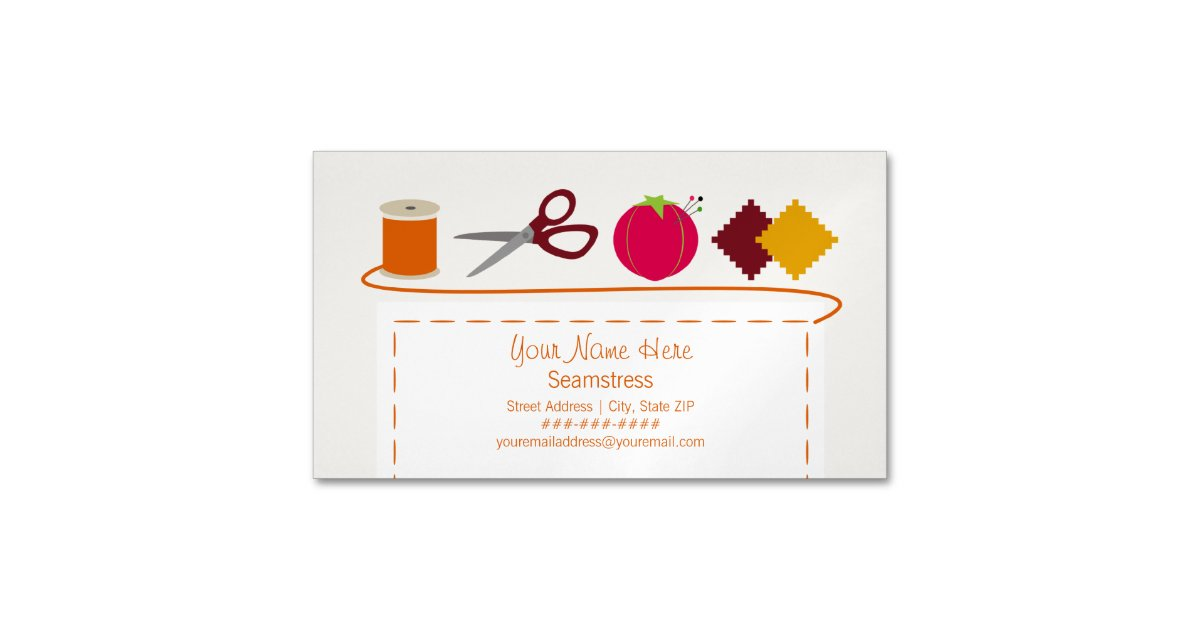 Sewing Theme Magnetic Business Card | Zazzle.com