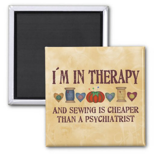 Sewing Therapy 2 Inch Square Magnet