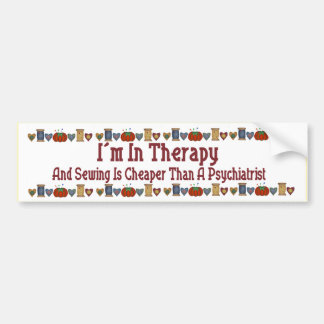 Sewing Therapy Bumper Sticker