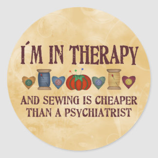 Sewing Therapy Classic Round Sticker