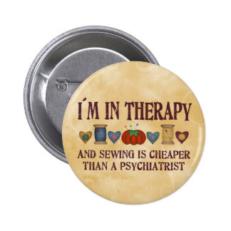Sewing Therapy Pinback Button