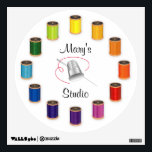 """Sewing Thimble, Needle and Threads Wall Sticker<br><div class=""""desc"""">Silver thimble, needle and vivid color wheel of threads design for artists who love to sew, tailor, quilt, embroider or craft. Customize your text. A thoughtful gift for yourself or that special creative person in your life. More products with this design in this store&#39;s Threads to Sew Category. Just click...</div>"""