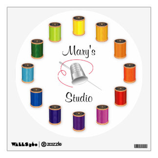 Sewing Thimble, Needle and Threads Wall Sticker