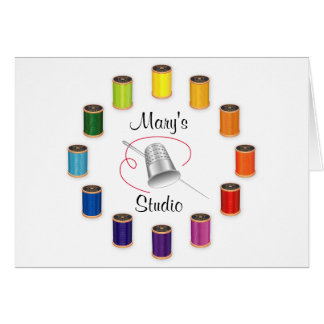 Sewing Thimble, Needle, Threads Do It Yourself Stationery Note Card