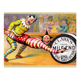 Sewing Thread Clowns Victorian Trade Card Art