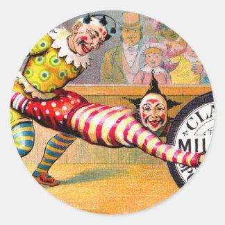 Sewing Thread Clowns Victorian Trade Card Art Classic Round Sticker
