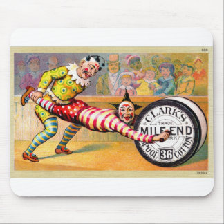 Sewing Thread Clowns Victorian Trade Card Art Mouse Pad