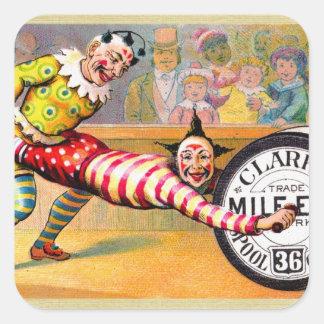 Sewing Thread Clowns Victorian Trade Card Art Square Sticker