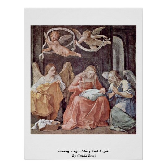 Sewing Virgin Mary And Angels By Guido Reni Poster