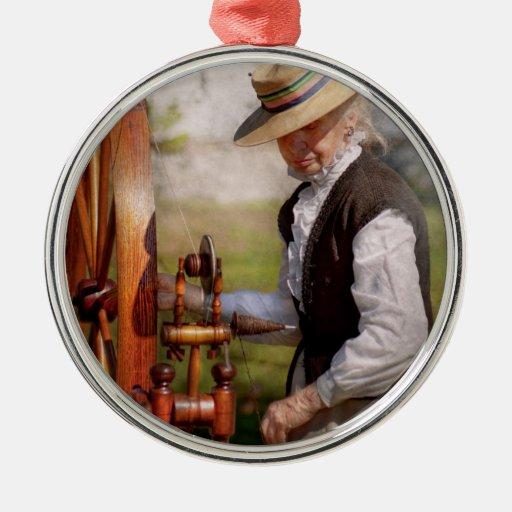 Sewing - Weaving - Big wheel keep on turning Round Metal Christmas Ornament