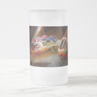 Sewing - Yarn - Threads of time Frosted Glass Beer Mug