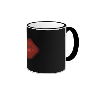 Sewn Red Lips Ringer Mug