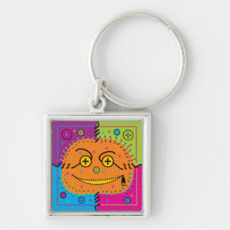sewn smiling halloween pumpkin Square Keychain