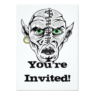 "sewn up ghoul skull 5"" x 7"" invitation card"