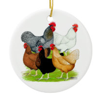 Sex-linked Chickens Quintet Ceramic Ornament