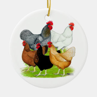 Sex-linked Chickens Quintet Double-Sided Ceramic Round Christmas Ornament