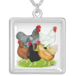 Sex-linked Chickens Quintet Square Pendant Necklace