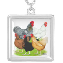 Sex-linked Chickens Quintet Silver Plated Necklace