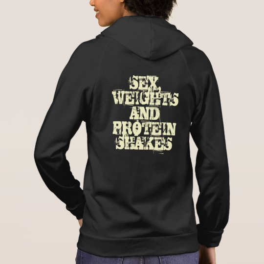 Sex weights and protein shakes tank hoodie