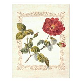 Sexagésima invitación color de rosa francesa roja invitación 10,8 x 13,9 cm