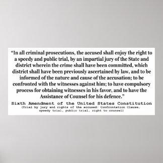 Sexta enmienda a la constitución de Estados Unidos Póster