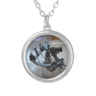 Sextant For Celestial Navigation Silver Plated Necklace