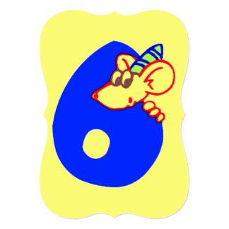 """Sexto cumpleaños con el ratón invitación 5"""" x 7"""""""
