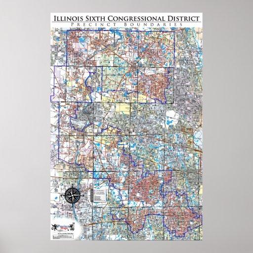 Sexto mapa del congreso del recinto de Illinois (I Poster