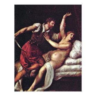 Sextus Tarquinius y Lucretia por Tizian Tarjeton