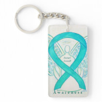 Sexual Assault Angel Awareness Ribbon Keychain