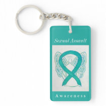 Sexual Assault Awareness Ribbon Angel Keychain