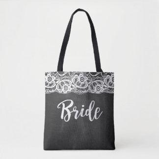 Sexy Bachelorette Black and White Lace Bride Tote Bag