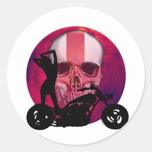 Sexy Biker Girl English Stickers