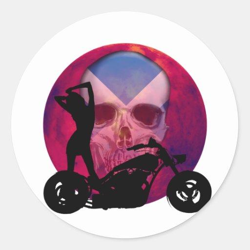Sexy Biker Girl Scottish Round Stickers