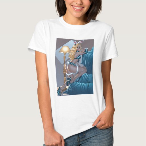 Sexy Blond Lingerie Bunny Pinup Girl by Al Rio T Shirts