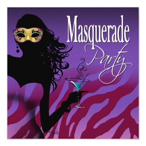 Sexy Bombshell Zebra Masquerade Cocktail Party Invitation