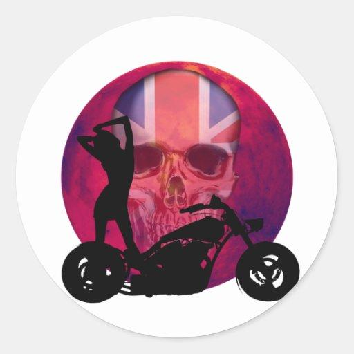 Sexy British Biker Skull Round Sticker