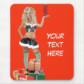 Sexy Christmas Elf Mouse Pad