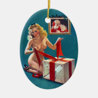 Sexy Christmas Pin Up Ceramic Ornament