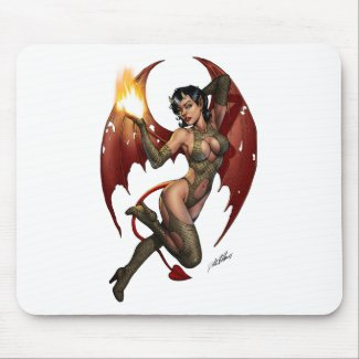 Sexy Devil Girl Pinup with Fire Mousepad