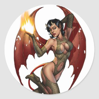 Sexy Devil Girl Pinup with Fire Button