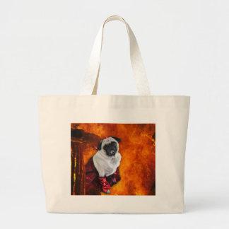 Sexy Devil Pug Large Tote Bag