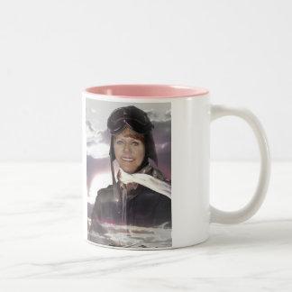 Sexy Female Pilots Wear Aviation Fuel, aviator Two-Tone Coffee Mug