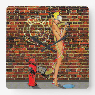 Sexy Firefighter PinUp Square Wall Clock