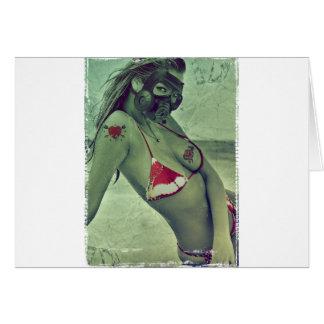 sexy girl ocean blonde funny gass mask summer card