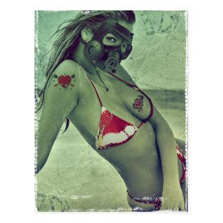sexy girl ocean blonde funny gass mask summer postcard