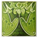 "Sexy Green Art Nouveau Floral Repro Tile<br><div class=""desc"">The Art Nouveau style began in the last decade of the 19th century and lasted until WWI. Art Nouveau tiles feature stylized designs with flowing curves based on natural forms. The antique original of this tile is a six inch square, but it is also effective in the 4 inch size,...</div>"