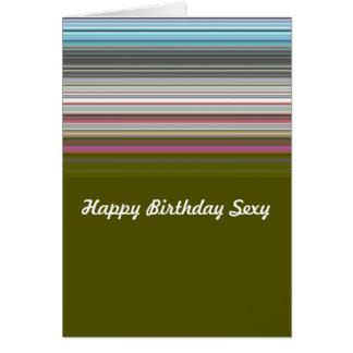 Sexy happy birthday striped card