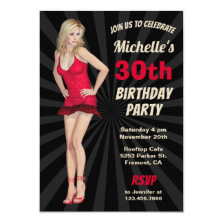 Sexy Hot Blonde Woman Birthday Party Invitation