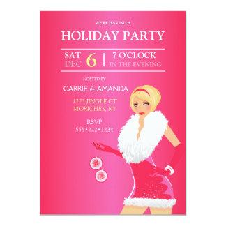 Sexy Hot Pink Christmas Fashion Girl Holiday Dress 5x7 Paper Invitation Card